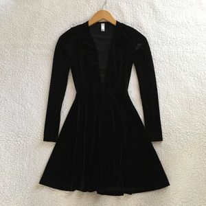 American Apparel deep v velvet skater dress